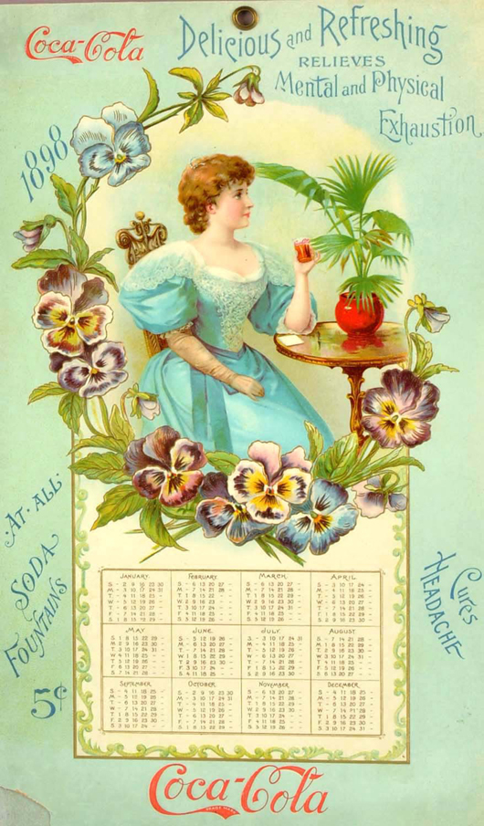 1898 Coca-Cola calendar, very rare, book example from 'Petretti's Coca-Cola Price Guide,' est. $20,000-$30,000. Morphy Auctions image.