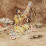 'Waiting for Her Brave's Return,' Charles M. Russell, watercolor on paper, 12 x 15 inches. Price realized: $375,000. Image courtesy C.M. Russell Museum