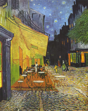 The Kroller-Muller Museum owns the second largest number of works by Vincent van Gogh in the world, including 'Cafe Terrace at Night,' 1888, oil on canvas. Image courtesy Wikimedia Commons.