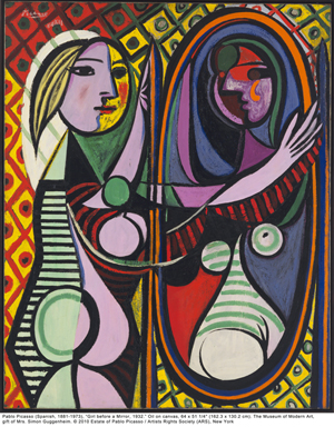 Pablo Picasso (Spanish, 1881-1973), 'Girl before a Mirror, 1932.' Oil on canvas, 65 x 51 1/4 inches. The Museum of Modern Art, gift of Mrs. Simon Guggenheim, copyright 2010 Estate of Pablo Picasso / Artists Rights Society (ARS), New York.