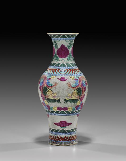 Qianlong famille rose porcelain vase, 13 inches tall, $70,150. I.M. Chait image.