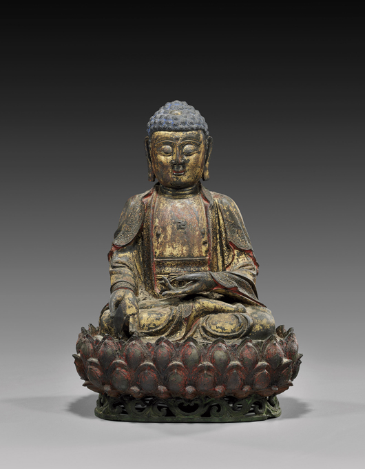 Ming Dynasty Buddha, 16 inches, sold to Internet bidder for $54,900. I.M. Chait image.