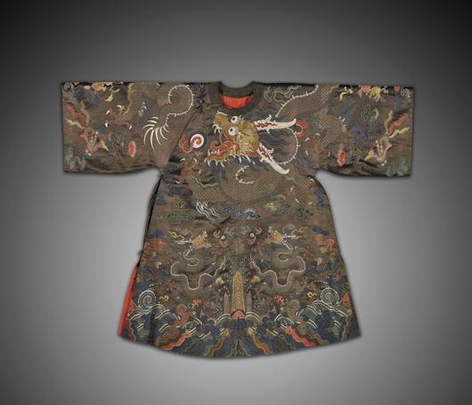 Fine Chinese silk kesi-type dragon robe, $36,600. I.M. Chait image.