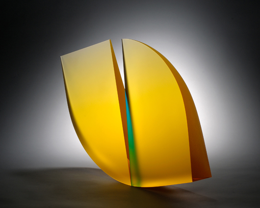 Martin Rosol, Untitled, 2011. Cast, cut, laminated, polished glass. H 15 inches, W 23 inches, D 3 inches. Photo: David Stansbury. Schantz Galleries.