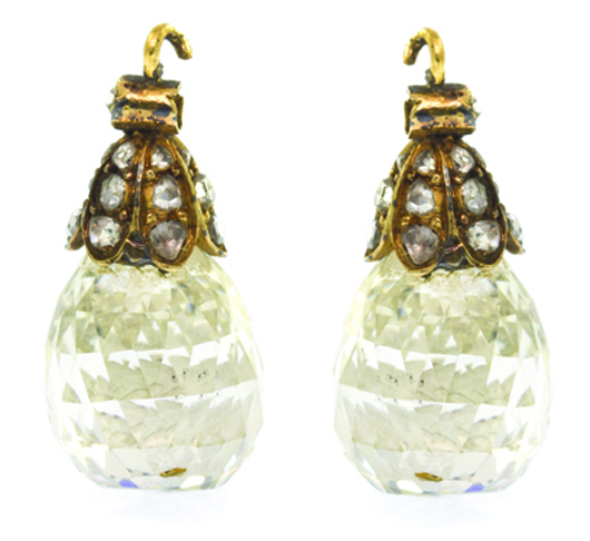 Pair of Victorian diamond briolette pendants, designed as earring components, containing two briolette shape rose cut diamonds. Price realized: $67,100. Image courtesy Leslie Hindman Auctioneers.