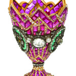 This Continental 18-karat yellow gold, silver, ruby, diamond and enamel zarf in a mosaic design sold for $134,200. Image courtesy Leslie Hindman Auctioneers.