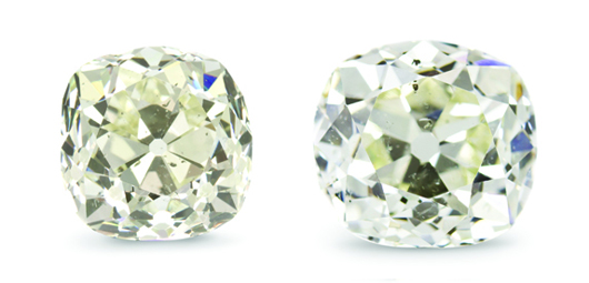 Two antique cushion cut diamonds, weighing approximately 13.37 carats and 12.38 carats, accompanied by gold ring settings. Price realized: $280,000. Image courtesy Leslie Hindman Auctioneers.