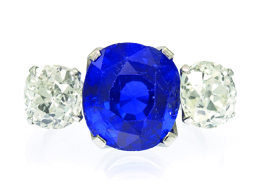 An 18-karat white gold, sapphire and diamond ring. Price realized: $61,000. Image courtesy Leslie Hindman Auctioneers.