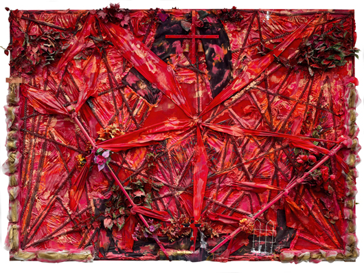 Another work in the current traveling exhibition, 'Construction of the Victory,' 1997, is a composition of found objects and paint on canvas on wood. Collection of the Souls Grown Deep Foundation. Photo by Stephen Pitkin