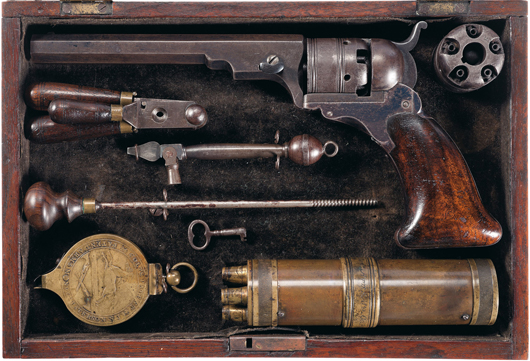 Historic cased presentation Colt No. 3 belt model Paterson revolver with original and full complement of accessories. Estimate: $275,000-$450,000. Image courtesy Rock Island Auction.