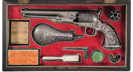 Deluxe cased silver/gold Thuer conversion, L.D. Nimschke factory engraved Colt Model 1861 Navy revolver with battle scene Tiffany grips obtained from the son of President Pierola of Preu. Estimate: $120,000-$160,000. Image courtesy Rock Island Auction.