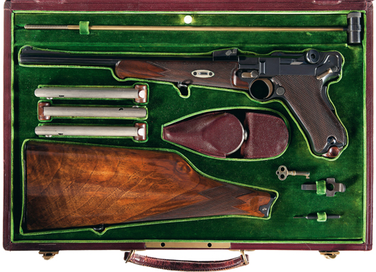 Historic and important cased Model 1902 Georg Luger DWM semi-automatic carbine with gold inlaid Borchardt presentation. Estimate: $90,000-$140,000. Image courtesy Rock Island Auction.