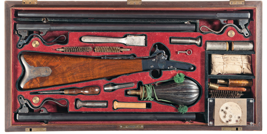 Excellent cased three-barrel set Maynard single-shot percussion rifle/shotgun attributed to President Abraham Lincoln, published in 'One Hundred Great Guns.' Estimate: $50,000-$100,000. Image courtesy Rock Island Auction.