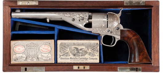 Rare and historic serial No. 1, exhibition quality deluxe factory engraved, cased presentation, Colt Model 1861/72 Navy cartridge revolver. Estimate upon request; call 800-238-8022. Image courtesy Rock Island Auction.