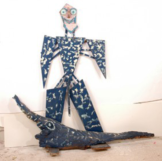 Dial's sculptural constructions can dominate a room. 'A Man & His Gator'—paint on plywood and found stump—measures 66 inches by 65 inches. The work sold for $1,050 last year.