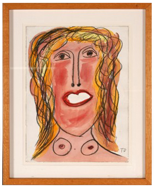 'Survival,' a watercolor and crayon on paper work signed and dated 1993, brought $1,300 last fall. Courtesy Slotin Folk Art, Gainesville, Ga.