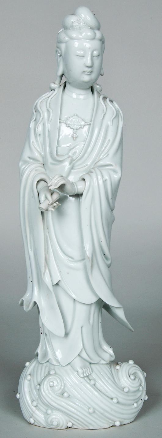 Important blanc de Chine Quam Yin figure, 15 inches high. Image courtesy of Mid-Atlantic Auctions.