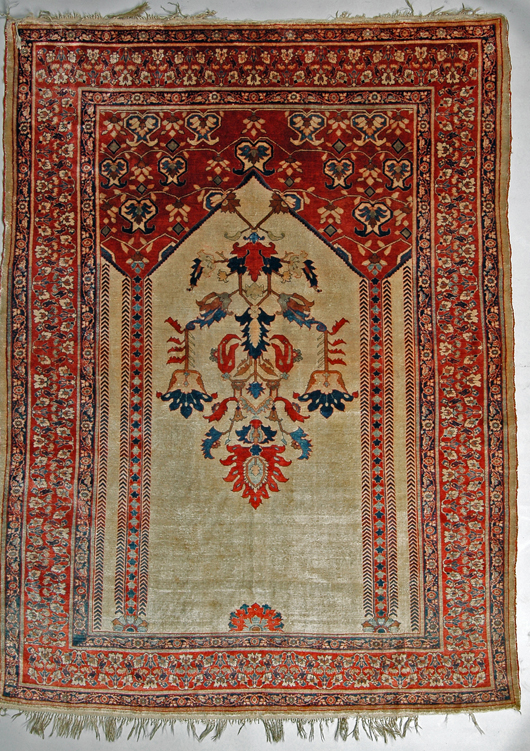 Persian silk rug, 55 inches x 72 inches. Image courtesy of Mid-Atlantic Auctions.