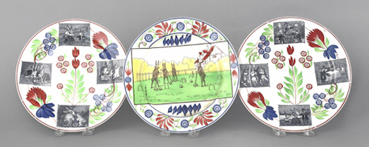 """From the same 19th-century time period as other spatter wares, """"stick spatter"""" pottery may combine freehand painting with repetitive stamped motifs, such as the round flowers seen here. Some pieces add transfer prints; the sought-after rabbits-at-play on these plates took the trio to $1,007. Courtesy of Pook & Pook"""