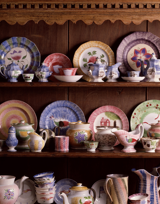 Spatterware Hall at the Winterthur Museum in Delaware is heaven for collectors. Shelves are filled with brilliant wares gathered by pioneer collector Henry Francis du Pont. Courtesy Winterthur Museum