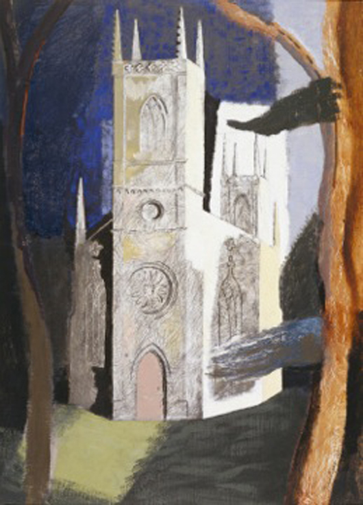 John Piper's Octagonal Church, Hartwell, Buckinghamshire 1939, on view at Dorchester Abbey, Dorchester-on-Thames, Oxfordshire from 21st April to 10th June. Image © The Collection: Art & Archaeology in Lincolnshire (Usher Gallery).