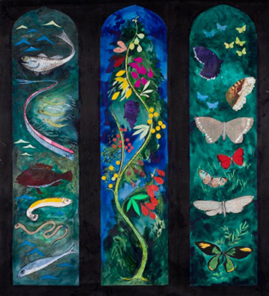 John Piper's full-scale cartoon for The John Betjeman Memorial Window, All Saints' Church, Farnborough, 1986. Mixed media. On exhibition at Dorchester Abbey, Oxfordshire from 21st April to 10th June. Image © The Piper Estate.