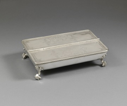 This important Huguenot silver inkstand by London maker Paul de Lamerie, formerly in the collection of British Prime Minister Robert Walpole, was one of the stars of the TEFAF Silver Jubilee fair in Maastricht in March. It was sold by Koopman Rare Art for $5m. Image courtesy of Koopman Rare Art and TEFAF.