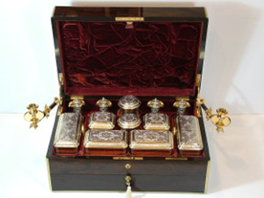 A lady's silver gilt travelling dressing table set provenanced to the family of Sir Winston Churchill, which Hampton Antiques will be showing at the first Cotswold Art and Antique Dealers Association fair at Blenheim Palace in Oxfordshire from 20-22 April. Image courtesy Cotswold Art and Antique Dealers Association.