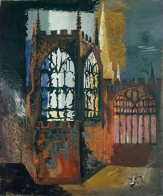 John Piper (1903-1992), Coventry Cathedral, November 15, 1940. Oil on plywood. Included in a new exhibition of Piper's rarely seen works focusing on British churches to be held at Dorchester Abbey, Dorchester-on-Thames, Oxfordshire from 21st April to 10th June. Image © Manchester City Galleries.
