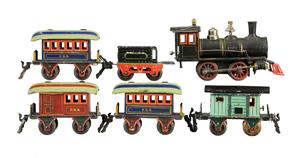 Marklin O gauge passenger train set, est. $2,000-$3,000. Morphy Auctions image.