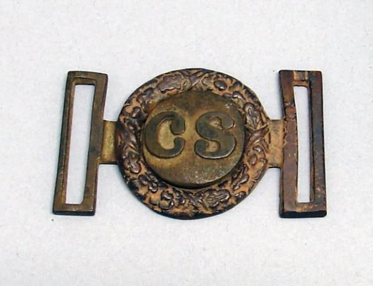 Confederate two-piece tongue-and-wreath style buckle. Image courtesy LiveAuctioneers.com Archive and Alderfer Auction & Appraisal.