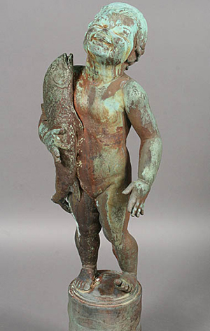 Edith Barretto Parsons (1878-1956) sculpted a collection of charming youngsters holding animals for use as fountain figures. A bronze version of her 'Fish Baby,' circa 1920, sold for $9,000 in the spring 2011 auction. Courtesy Kamelot Auctions