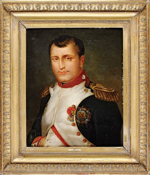 An 1839 oil on canvas portrait of Napoleon in uniform signed by V. Varillaz will be offered in New Orleans in the April 21-22 sale (estimate $4,000-6,000). Courtesy Neal Auction Company
