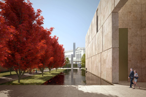 'The Barnes Totem,' depicted in an artist rendition, has been installed outside the new gallery of the Barnes Foundation in Philadelphia. The 40-foot-tall stainless steel sculpture is by Ellsworth Kelly. Image courtesy the Barnes Foundation.