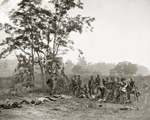 Burial crew of Union soldiers after the Battle of Antietam, September 1862. Photograph by Alexander Gardner. Image courtesy Wikimedia Commons.