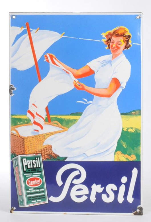 Like a fresh breeze, this rare enameled Persil sign finished bidding at 2,600 euros ($3,400). Photo courtesy Antico Mondo.