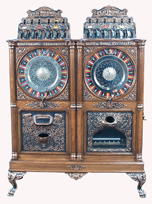 Caille Bros. 5- and 25-cent Centaur/Eclipse twin double-wheel upright slot machine, circa 1907. Eclipse side has music. Image courtesy Victorian Casino Antiques.