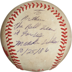 The infamous 'Buckner ball' from Game 6 of the 1986 World Series sold for $418,250, inclusive of the buyer's premium. Image courtesy Heritage Auctions.