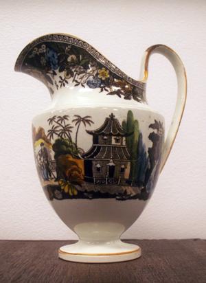 Salopian ware Oriental Views cream pitcher. Estimate: $160-$250. Image courtesy William Jenack Estate Appraisers and Auctioneers.