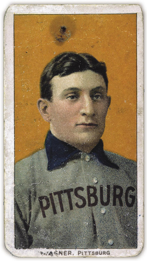 A 1909-1911 Honus Wagner T206 baseball card. Published by the American Tobacco Co., photo by the National Baseball Hall of Fame and Museum.