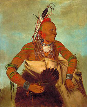 George Caitlin (American, 1796-1872) painting of Osage warrior of the Wha-sha-she band (a subdivision of Hunkah). By the mid-17th century, the Osage had migrated west of the Mississippi to their historic lands in Oklahoma and several other states. They are not based mainly in Osage County, Oklahoma.