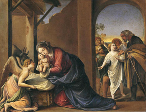 Alessandro Tiarini, Nativity of Jesus, mid-17th century, oil on copper, 33 x 42.7 cm. Collection of the Uffizi Gallery, Florence, Italy.