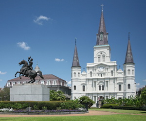 Jackson Square in New Orleans' French Quarter honors Gen. Andrew Jackson, who later became the seventh President of the United States. In the middle of the square is the famous monument to Jackson, shown on horseback, doffing his hat. Photo licensed under the Creative Commons Attribution-ShareAlike 3.0 License.