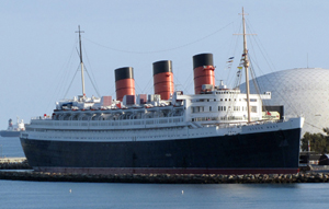 RMS Queen Mary, docked in Long Beach, California. Photo by David Jones, licensed under the Creative Commons Attribution 2.0 Generic license.