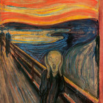 One of several versions of the painting 'The Scream' by Edvard Munch (Norwegian, 1863-1944), this one being from the collection of The National Gallery, Oslo, Norway.