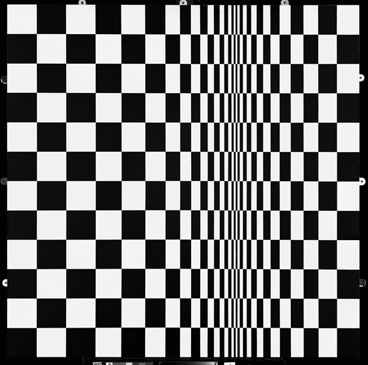 Bridget Riley, Movement in Squares, 1961. Emulsion on board. To be included in a joint show of Ms Riley's black and white Op Art paintings opening in London on 23 May. Image © Bridget Riley. All rights reserved. Courtesy Karsten Schubert, London