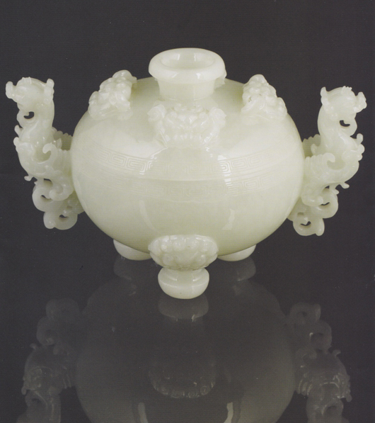 A Chinese white jade censer carved with buddhistic lion masks that is among the more significant lots under the hammer of Duke's in Dorchester on May 10. Image courtesy of Duke's.