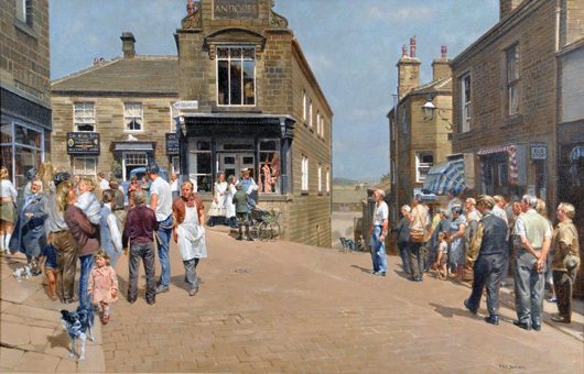 West Yorkshire auctioneers Hartleys of Ilkley were bid a double-estimate £10,500 ($17,100) for this oil by Kenneth Jackson showing the location shooting of the 1970 film The Railway Children. Image courtesy Hartleys.