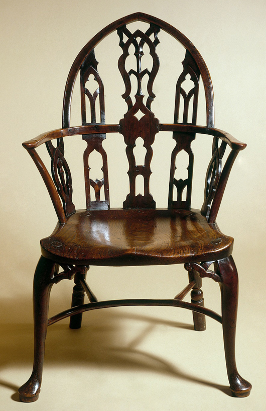 This beautiful 'Gothick' pointed bow Windsor armchair is one of a number of eighteenth-century Windsor chairs assembled to form a