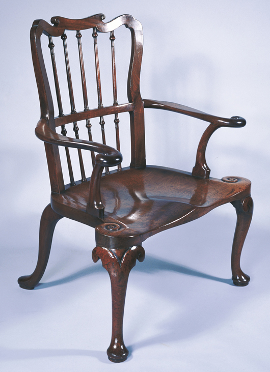 A handsome mahogany 'Windsor' elbow chair, included in the exhibition of Windsor chairs at West Wycombe Park in Buckinghamshire from 6 to 31 May. Image courtesy West Wycombe Park and National Trust.